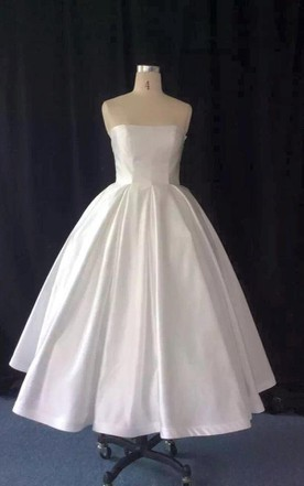 Strapless Tea-Length A-Line Taffeta Wedding Dress With Full Skirt