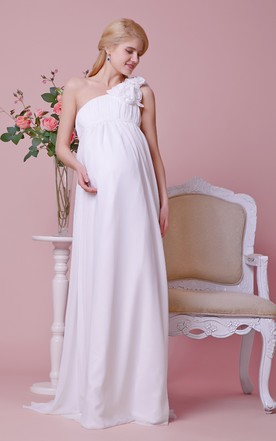 Glamourous Empire Waist Maternity Gown With Rosette Detail