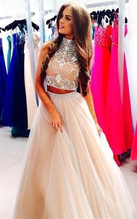 42fde9bb71030 Gorgeous Two Pieces High-Neck Prom Dresses 2018 Beadings Tulle A-Line ...