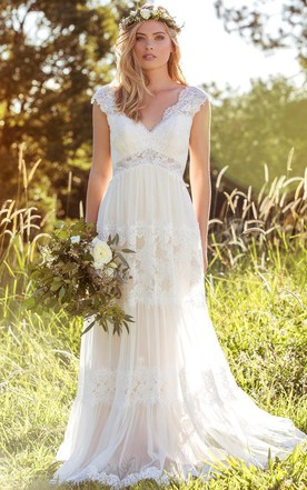 V Neck Long Cap Sleeve Appliqued LaceTulle Wedding Dress