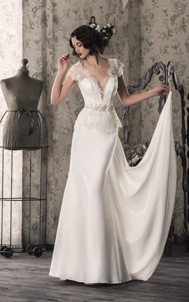 1920s style wedding dress vintage bridal gowns june bridals lace satin weddig dress with illusion lace up back junglespirit