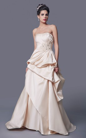 Simple Strapless A Line Ruffled Satin Long Dress