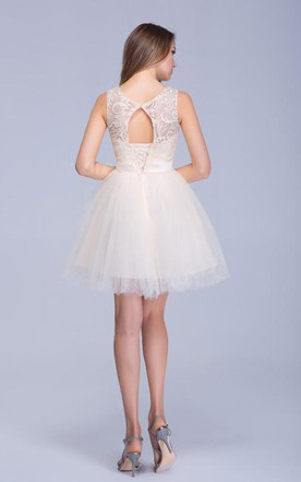 Modern Illusion Sleeveless Tulle Homecoming Dress With Lace Bowknot