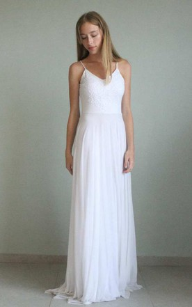 Floor-Length Spaghetti Straps Tulle Lace Wedding Dress