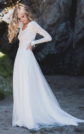 Lace wedding dress with long sleeves modest bridal gowns june long sleeve chiffon tulle lace wedding dress junglespirit