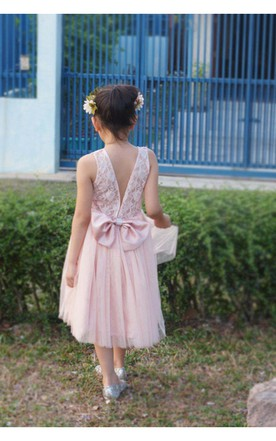 Blush Flower Lace Bodice Pleated A-line Tulle Flower Girl Dress With Bow Sash
