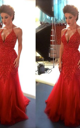 9251403a40 ... Sexy Beadings Tulle Mermaid Red Evening Dress 2018 Spaghetti Strap