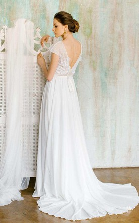 Chiffon Tulle Satin Floral Lace Wedding Dress