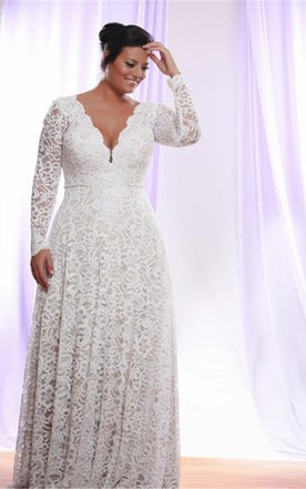 0d75d119839 Removable Long Sleeves V Neck Floor Length A Line Lace Plus Size Wedding  Dress ...
