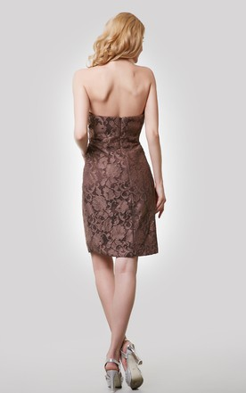 Sheath Lace Strapless Short Dress With Notched Neck
