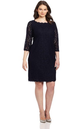 Long Sleeve Knee Length Lace Short Dress With Long Center Zipper