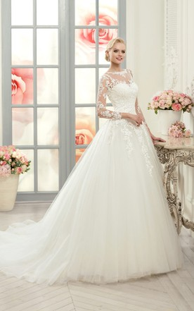 2ceb87a910 Ball Gown Floor-Length Bateau Long-Sleeve Illusion Tulle Lace Dress With  Appliques ...