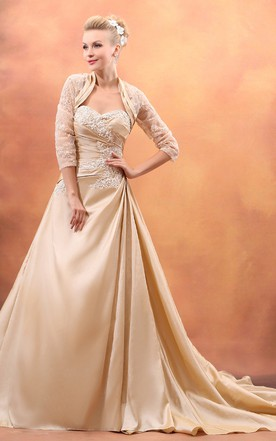 Sweetheart Sleeveless Gown With Ruching And Chapel Train