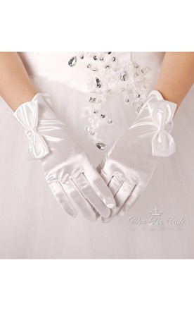 Bridal Large Bow Short Satin Gloves