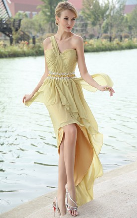 High-Low Asymmetrical One-Shoulder Dress With Beaded Waistband