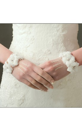 Korean Short Beige Silk Yarn Flowers Stretch Gloves