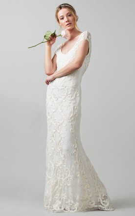 Sheath V Neck Cap Sleeve Lace Wedding Dress With Embroidery