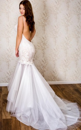 Low back backless wedding dress june bridals spaghetti strap lace and tulle mermaid wedding dress junglespirit Image collections
