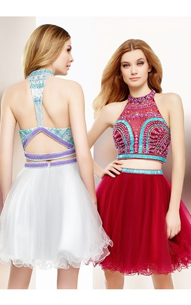 38e05518b46 Short A-Line Sleeveless Beaded High Neck Tulle Cocktail Dress With Keyhole