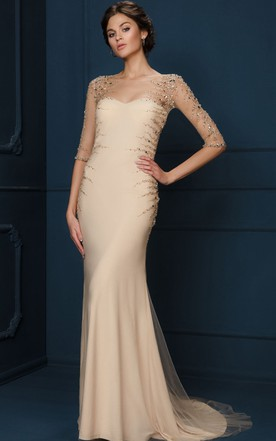 f5acd78d69dec Sheath Long-Sleeve Long Scoop-Neck Beaded Tulle&Jersey Evening Dress ...