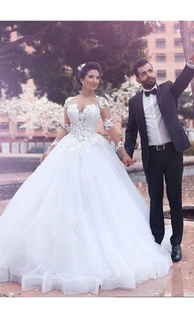 a33fe65696be Ball Gown Court Train Sweetheart Long Sleeves Lace Tulle Wedding Dresses ...