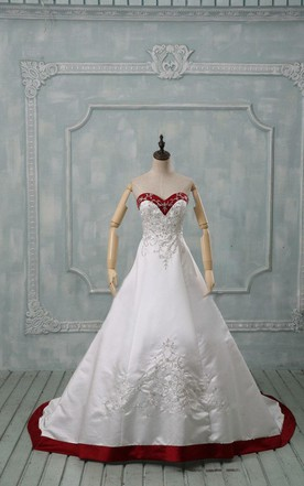 Sweetheart Long Satin Wedding Dress With Appliques And Lace Up Back