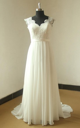Deep V Neckline Cap Sleeve Long Chiffon Wedding Dress With Open Back and Lace Bodice