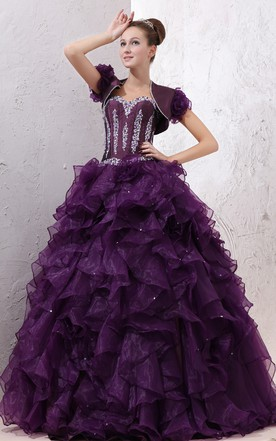 409eb3a09edf8 Strapless Organza Quinceanera Dress With Ruffles And Crystal Detailing ...