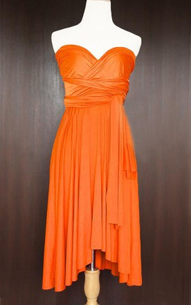 Orange Bridesmaid Convertible Wrap Wedding Cocktail Prom Twist Dress