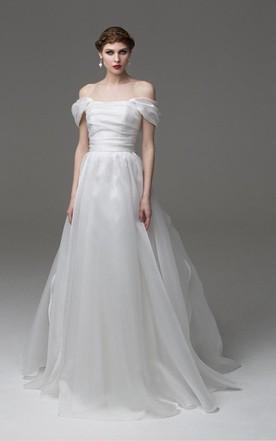 Off Shoulder A Line Organza Wedding Dress With Ruching