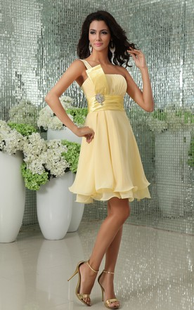 Asymmetrical One-Shoulder A-Line Dress With Broach And Fitted Waist
