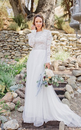 Lace wedding dress with long sleeves modest bridal gowns june long sleeve chiffon tulle lace weddig dress junglespirit Gallery