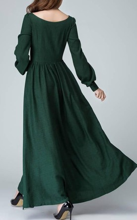 Linen Handmade Bishop Sleeve Long Sleeve Boat Neck Dark Green Maxi Long Women Custom 1454 Dress