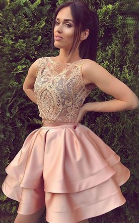 a3909b77896 A-line Ball Gown Bateau Sleeveless Ruching Ruffles Tiers Short Mini Satin  Lace Homecoming Dress