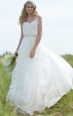 Straps Maxi Beaded Chiffon Wedding Dress With Sweep Train And V Back ...