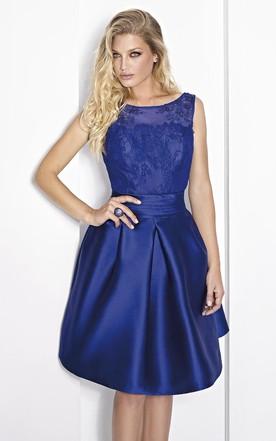 28aa0cea21a Short A-Line Scoop Neck Sleeveless Beaded Satin Prom Dress