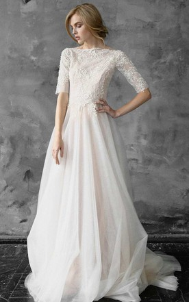 A Line Tulle Beaded Lace Wedding Dress