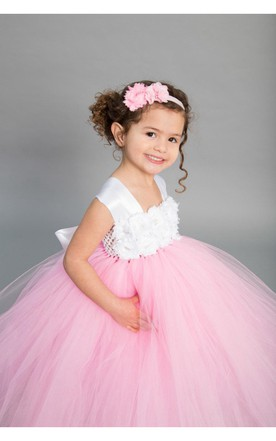Cap Sleeve Chiffon Flower Bust Pleated Ruffled Tulle Ball Gown With Bow Sash