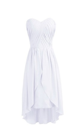 Sweetheart Asymmetrical Ruched Knee-length Layered Chiffon Dress