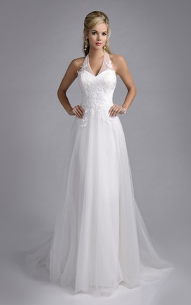 Superior Halter Tulle A Line Bridal Wedding Dress With Lace Appliques ...