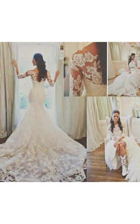 Elegant 3 4 Long Sleeve Illusion Tulle Wedding Dress Lace Appliques