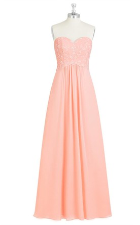 Sweetheart Chiffon A-Line Dress With Lace Bodice and Pleats