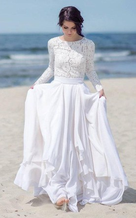Chiffon Satin Lace Button Zipper Wedding Dress