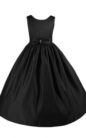 Black flower girl dresses flower girl black dresses june bridals sleeveless scoop neck a line dress with bow mightylinksfo