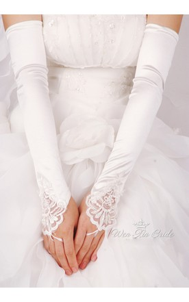 Plus Long White Beaded Satin Hook Elastic Satin Gloves