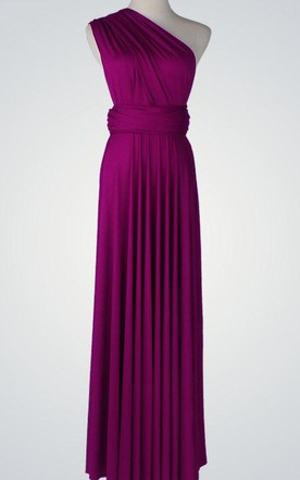 One-Shoulder Chiffon Floor-Length Dress With Pleats