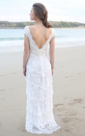 Plunged Sheath Cap-Sleeve Tired Boho Style Wedding Dress And Deep-V Back
