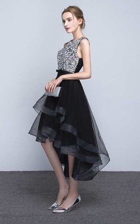 Sleeveless Jewel Neck High Low Organza Dress With Beaded Bodice