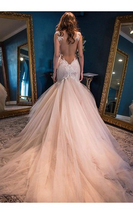 Blushing pink wedding dress june bridals mermaid straps backless chapel train pink wedding dress with lace wedding dresses junglespirit Image collections