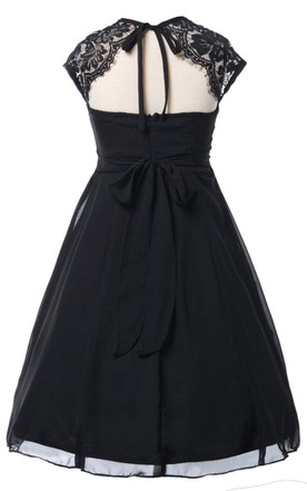 Cap-sleeved Square-neck Chiffon Dress With Key-hole Back